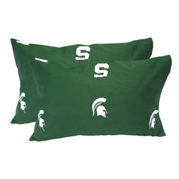 College Covers - NCAA Michigan State Spartans Pillowcases Two-Pack Green Set - Features: