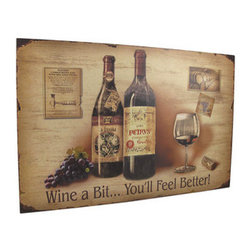 Fine Wine Themed Wall Hanging 23.5 In. - This fine wine themed, lightly distressed wall plaque is a wonderful addition to the homes of wine enthusiasts. The wooden plaque measures 23 1/2 inches long, 15 3/4 inches high, and 1/4 inch thick. It features an image of vintage wine bottles and accessories with the inspirational saying, `Wine a Bit... You`ll Feel Better!` printed across the bottom of it. The plaque easily mounts to the wall with a single nail or screw by the metal picture hanger on the back.