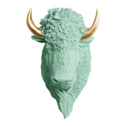 Wall Charmers - Wall Charmers Bison in Mint + Gold Horns | Faux Buffalo Head Fake Resin Animal - WALL CHARMERS FAUX TAXIDERMY BISON HEAD