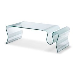 Zuo - Discovery Coffee Table - Discover the beauty of bent-tempered glass with frosted stripes in this unique coffee table.  The Discovery coffee table will truly be a centerpiece in your living room or keeping room.
