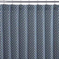 Pinwheel Shower Curtain - Tiny navy pinwheels spin an upbeat design on 100% cotton for a dynamic refresh to the bath.