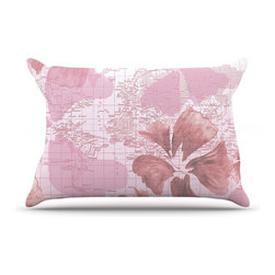 "Kess InHouse - Catherine Holcombe ""Flower Power Pink"" Map Pillow Case, Standard (30"" x 20"") - This pillowcase, is just as bunny soft as the Kess InHouse duvet. It's made of microfiber velvety fleece. This machine washable fleece pillow case is the perfect accent to any duvet. Be your Bed's Curator."