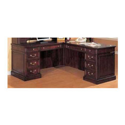 """DMi - Wellington Right """"L"""" Executive Desk with 10 Drawers - Features: -Material: Wood.-Consists of a left single pedestal desk and a right single pedestal return.-All drawers are suspended on black, full extension, ball-bearing slides.-File drawers accommodate letter or legal sized hanging files.-Drop-front keyboard drawer with pencil tray on both desk and return.-Box/box with removable dividers/file drawer per pedestal.-Kneehole lock secures bottom two drawers in each pedestal.-Cable accessible via grommets in desk side panels and return approach panels.-Tops are constructed with cherry veneers on a chip core sub straight with hardwood parts and an NC lacquer finish top coat.-Wellington collection.-Distressed: No.-Collection: Wellington.Dimensions: -Single pedestal desk: 30'' H x 65.5'' W x 30.25'' D.-Single pedestal return: 30'' H x 48'' W x 24'' D.-Dimensions: 30'' H x 65.5'' W x 78.25'' D.-Overall Product Weight: 412 lbs.Assembly: -Assembly required."""