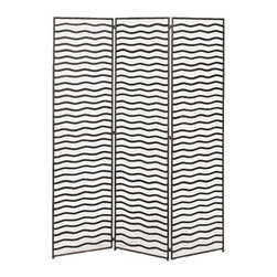 Minka Screen - A beautifully rhythmic pattern of metal waves makes an artistic statement in your eclectic home. Three panels allows you to set the screen to your needs and either divide up a room or discretely hide your collection of electronics or paper work. Either way, the piece will add dimension and visual interest to any corner of your room.