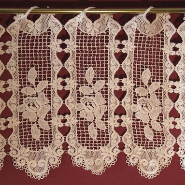 Macrame Ring Lace - Vicki pattern  - Imported French macrame that comes in several sizes from a 12 inch Valance for $10.95 per foot to a 47 1/2 inch lace panel.