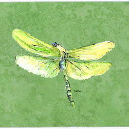 Caroline's Treasures - Dragonfly On Avacado Kitchen Or Bath Mat 24X36 - Kitchen or Bath COMFORT FLOOR MAT This mat is 24 inch by 36 inch. Comfort Mat / Carpet / Rug that is Made and Printed in the USA. A foam cushion is attached to the bottom of the mat for comfort when standing. The mat has been permenantly dyed for moderate traffic. Durable and fade resistant. The back of the mat is rubber backed to keep the mat from slipping on a smooth floor. Use pressure and water from garden hose or power washer to clean the mat. Vacuuming only with the hard wood floor setting, as to not pull up the knap of the felt. Avoid soap or cleaner that produces suds when cleaning. It will be difficult to get the suds out of the mat