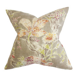 """The Pillow Collection - Satriya Floral Pillow Red 18"""" x 18"""" - This throw pillow lends an elegant look to your home with this pretty decor pillow. This accent pillow is packed with floral details in shades of purple, orange, green, white and gray. Made with a blend of high-quality materials: 55% linen and 45% rayon. Mix and match with solids and other patterns for a personalized decor style. Hidden zipper closure for easy cover removal.  Knife edge finish on all four sides.  Reversible pillow with the same fabric on the back side.  Spot cleaning suggested."""
