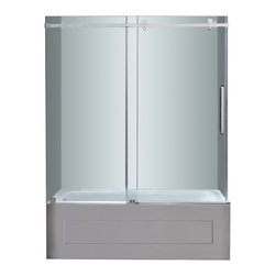 Aston - Aston 60x60, Completely Frameless Tub-Height Sliding Shower Door, Chrome - Instantly transform your current bathtub alcove with its old door or curtain with the TDR976 60