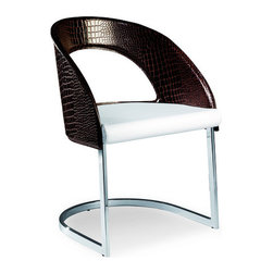 Airnova - Skyline Armchair, Dark Brown Crocodile Print - Stylish armchair with chrome base by Airnova. White eco leather seat. Crocodile print dark brown leather back. Designed and made in Italy.