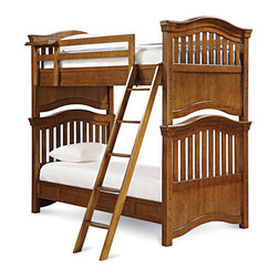 Universal - Smart Stuff - Classics 4.0 Saddle Brown Slat Bunk Bed - Summertime is filled with warm nights, clear skies, and crisp cool bed sheets; and now, with the Saddle Brown Bunk Bed from Universal Furniture, you can carry those feelings with you all year long! Traditionally styled with a Twin over Twin, Full over Full, or Twin over Full bed, this kid's bunk bed features a curved step ladder, clock shelf on top bunk, metal joining pegs, and Trundle or storage accommodations. You can even break the bunks down into two beds - the possibilities are endless!