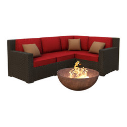 Forever Patio - Hampton 4 Piece Modern Patio Sectional Set, Chocolate Wicker and Ruby Cushions - The 4 Piece Hampton Modern Sectional Set by Forever Patio with Red Sunbrella cushions(FP-HAM-4SEC-CH-FF) sports the latest modern wicker design while providing an incredibly luxurious outdoor seating experience. The set seats 4 adults comfortably, and includes a left arm, right arm, middle and corner section. This set features Chocolate wicker, which is made from High-Density Polyethylene (HDPE) for outdoor use. Every strand of this wicker is infused with the rich color and UV-inhibitors that prevent cracking, chipping and fading ordinarily caused by sunlight. Each piece features thick-gauged, powder-coated aluminum frames that make the set extremely durable and resistant to corrosion. Also included with the set are cushions covered in fade- and mildew-resistant Sunbrella fabric, available in a wide selection of colors. The seating is generously sized and the back cushions are overstuffed, providing unmatched outdoor comfort.