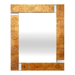 "Jonathan Adler - Jonathan Adler Bond Wall Mirror - Tough in style and easy on the eye, the Bond mirror measures up to its iconic, suave namesake. Jonathan Adler partners lucite and burled wood for a touch of glamour to its minimal modern lines. 34""W x 42""H; Pieced burled wood, lucite"