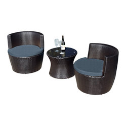 Harmonia Living - Pineapple 3 Piece Stacking Patio Chat Set, Charcoal Cushions - Use this three-piece set to create your very own outdoor chat room. Each piece is made of high-density, polyethylene wicker that weathers the elements beautifully, so you can enjoy the great outdoors year-round. But, they also stack away neatly when not in use.