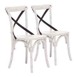 """Zuo - Set of 2 Zuo Union Square Antique White Chairs - Set of 2 Zuo Union Square Antique White Chairs. Set of 2. Antique white finish. Elm wood construction. Antique metal accents. No assembly required. Seat is 17 3/4"""" high 18 1/4"""" wide 16 1/2"""" deep. 34 3/4"""" high. 17 1/2"""" wide. 17 1/2"""" deep.  Set of 2.  Antique white finish.  Elm wood construction.  Antique metal accents.  No assembly required.  Seat is 17 3/4"""" high 18 1/4"""" wide 16 1/2"""" deep.  34 3/4"""" high.  17 1/2"""" wide.  17 1/2"""" deep."""