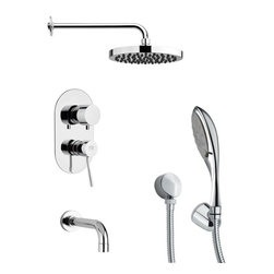Remer - Modern Sleek Chrome Shower System - Multi function tub and shower faucet.