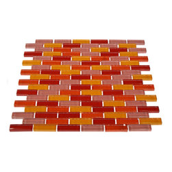 """Loft Sushi Polished Glass Tiles In Brick Pattern - Loft Sushi 1/2"""" x 2"""" Polished Glass Tile A beautiful blend of multi-colored glass tile in both frosted and polished finishes arranged in a classic brick pattern. The multi-color glass creates a dramatic and attractive design for any room. Great to use for back splash for a kitchen, bathroom, pool installation. Chip Size: 1/2"""" x 2"""" Color: Red, Orange, Yellow + Lavender Purple Material: Glass Finish: Polished and Frosted Sold by the Sheet - each sheet measures 12"""" x 12"""" (1 sq. ft.) Thickness: 8mm Please note each lot will vary from the next."""