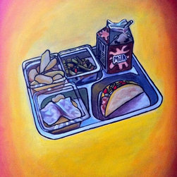 "CNoriega Fine Art, Inc. - 'Lunch Tray' Artwork - Think back on your school days and ask yourself this: ""Why didn't we have tacos for lunch?"" And maybe schools don't actually serve tacos for lunch, but your kids will dream and hope. Isn't that what art is supposed to inspire?"