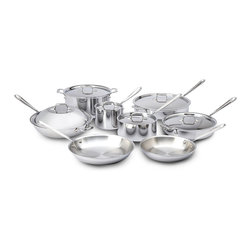 All-Clad - All-Clad Tri-Ply Stainless Steel 14 Piece Cookware Set (401716) - This All-Clad 14 piece Stainless set includes: 10 inch fry pan, 12 inch fry pan, 2 quart sauce pan with lid, 3 quart sauce pan with lid, 3 quart saute pan with lid, 6 quart saute pan with lid, 12 inch chef's pan with lid, 8 quart stock pot with lid. The most practical option when looking for basic cookware shapes. Most fundamental day-to-day cooking can be accomplished with these All-Clad set pieces. Lifetime warranty from All-Clad with normal use and proper care. Made in the USA!