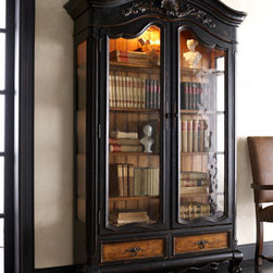 Horchow - Octavia Bookcase - Distressed wood and glass bookcase is a gorgeous venue for fine collectibles, books, art glass, or whatever you treasure. This handcrafted case features seeded glass doors and sides, four adjustable/removable wood-trimmed glass shelves, and interior lig...