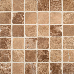 """Marbleville - Emperador Light 2"""" x 2"""" Tumbled Marble Mosaic in 12"""" x 12"""" Sheet - Premium Grade Emperador Light 2"""" x 2"""" Square Pattern Tumbled Finish Mesh-Mounted is a splendid Tile to add to your decor. Its aesthetically pleasing look can add great value to any ambience. This Mosaic Tile is made from selected natural stone material. The tile is manufactured to high standard, each tile is hand selected to ensure quality. It is perfect for any interior projects such as kitchen backsplash, bathroom flooring, shower surround, dining room, entryway, corridor, balcony, spa, pool, etc."""