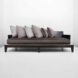 """Ecofirstart 5 - Wonderfully designed, well crafted """"Opium"""" sofa/daybed with a dark stained, solid mahogany frame and woven raffia seat supporting a large upholstered seat cushion and six (6) large pillows in linen, silk, and velvet."""