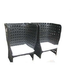 Pair Of Rattan Leisure Chairs - Contemporary Pair of Outdoor Armchairs with a high back made of Resin Rattan. UV Resistant with aluminum tubing. Will add a great and dramatic look to any Patio and backyard.  Black with white cushion.