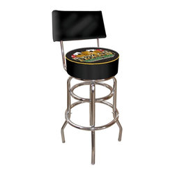 Trademark Global - Padded Bar Stool w Backrest & Texas Holdem Lo - Sit back and play it cool while you play your favorite card game, Texas Hold 'em.  This fabulous barstool features a cushioned backrest for extra seating comfort.  The thickly padded seat features a full color Stetson cowboy hat and pair of aces logo, with a smart contrasting welt trim.  This handsome and sturdy stool is perfect for residential or commercial applications. Adjustable levelers. Backrest for added comfort . Long lasting high gloss logo. Great for gifts and recreation decor. 7.50 in. High padded seat. 30 in. High bar stool great for bar pub table and bars (40 in. tall with backrest). Commercial grade vinyl seat. Chrome plated double rung base. 14.75 in. W x 14.75 in. D x 40 in. H (24 lbs.)This Texas Holdem Bar Stool with backrest will be the highlight of your bar and game room.