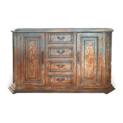 Terracotta Buffet, Rust Blueish Grey and Terracotta Distressed - Terracotta Buffet, Rust Blueish Grey and Terracotta Distressed