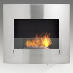 Eco-Feu - Wynn Wall Mounted Bio Ethanol Fireplace, Stainless Steel - The Wynn Wall Mount Fireplace  offers a contemporary and sophisticated look to any space. Offered in your choice of a matte black or stainless steel, Wynn is certain to accent any space. This fireplace offers an eco-friendly flame that is odorless. Bio Ethanol, an alternative fuel source produced from plants, only emits water vapor and carbon dioxide into the air, therefore no chimney or flue is needed. Although ethanol fireplaces aren't intended for use as a primary heat source, the Wynn model produces approximately 6,500 btu with the help of its stainless burner, which will change the noticeable temperature in a room of approximately 400 - 500 square feet. For aesthetic appeal and safety, this fireplace includes a pane of tempered glass that is situated in front of the flame. Appropriate for any living space, Wynn may be mounted on the wall using the included hardware or built into it with minor construction.