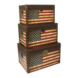 ecWorld - Antique American Flag Decorative Trunk Cases - Red, White, and Wow! These striking American flag trunk cases make a grand impression wherever they are placed. For storage, as tables or just as classic American cool decor, these colorful trunks are sure to uplift any room decor.