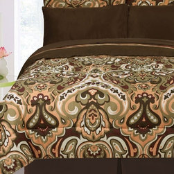 Bed In A Bag - 3pc Biloxi Reversible Comforter Set- Sage/ Chocolate/ Coral - 3pc Biloxi Reversible Comforter Set- Sage/ Chocolate/ Coral.  This reversible comforter set can change how the bedroom looks at a whim. It features a sage, coral, chocolate, and burgundy pattern on one side and a striped pattern on the reverse side that will make your room look classy no matter which side you choose.  100% Polyester Microfiber/ Machine Washable.  **NOTE: Twin Size has 1 Pillow Sham.