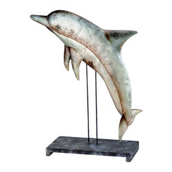 """Metal Dolphin Sculpture on Stand - The metal dolphin sculpture on stand measures 13"""" x 17"""". It features a beautifully crafted metal dolphin mounted to a sturdy base. It will add a definite nautical touch to whatever room it is placed in and is a must have for those who appreciate high quality nautical decor. It makes a great gift, impressive decoration and will be admired by all those who love the sea."""