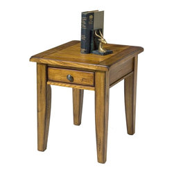 Liberty Furniture - Treasures End Table (Rustic Oak) - Finish: Rustic OakRectangular shape. One storage drawer. Complimentary antique hardware. Multi-step hand applied finish. Warranty: One year. Made from select hardwoods and veneers. 25 in. W x 23 in. D x 27 in. H (70 lbs.)