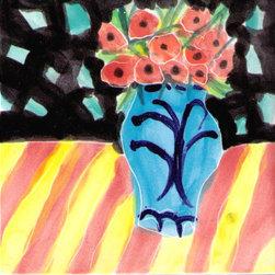 "Annette Kearney Majolica Mosaics - Matisse inspired hand painted majolica tiles 6"" and 4"""