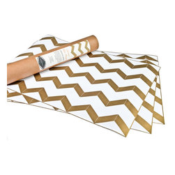 Chevron Drawer Liners - Don't forget your drawers; they can be stylish, too. Just add these gold liners from Hammocks & High Tea!