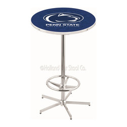 Holland Bar Stool - Holland Bar Stool L216 - 42 Inch Chrome Penn State Pub Table - L216 - 42 Inch Chrome Penn State Pub Table  belongs to College Collection by Holland Bar Stool Made for the ultimate sports fan, impress your buddies with this knockout from Holland Bar Stool. This L216 Penn State table with retro inspried base provides a quality piece to for your Man Cave. You can't find a higher quality logo table on the market. The plating grade steel used to build the frame ensures it will withstand the abuse of the rowdiest of friends for years to come. The structure is triple chrome plated to ensure a rich, sleek, long lasting finish. If you're finishing your bar or game room, do it right with a table from Holland Bar Stool.  Pub Table (1)