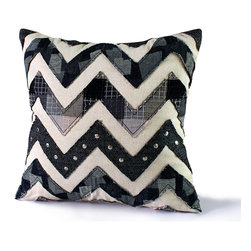14 Karat Home - Chevron Stud - This mixed media patchwork pillow embodies a fashion forward chevron design with tweed fabric and studs to bring the current trend into your home.