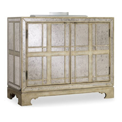 Hooker Furniture - Melange Mirrored Plaid Chest - Glamour meets the familiar as a mirrored finish is set off by a plaid pattern on the Mirrored Plaid Chest.  Two adjustable shelves with wine storage option behind two doors.  Ventilated back panel.