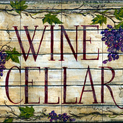 The Tile Mural Store (USA) - Tile Mural - Wine Cellar 2 - Kitchen Backsplash Ideas - This beautiful artwork by Anne Tavoletti has been digitally reproduced for tiles and depicts wine c ellar plaque.  Our decorative tiles with wine are perfect to use for your kitchen backsplash tile project. A wine tile mural adds elegance and interest to your kitchen wall tile area and makes a wonderful kitchen backsplash idea. Pictures of wine on tiles and images of wines bottles on tiles and wine glasses on tiles is timeless and these decorative tiles of wine blend with any decor. Your kitchen will come to life with a tile mural featuring wine.