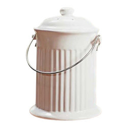Norpro, Inc. - Ceramic Compost Crock - Includes odor preventing filter in the lid. Sturdy stainless steel handle. Use to store organic kitchen waste. Easy to clean. Color: White. Boxed.            Size Gal=1