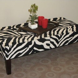 4D Concepts - Cocktail Ottoman - Features: -Zebra print fabric.-Four tapered stained legs.-Tufted top.-Clean with a dry non abrasive cloth.-Frame constructed of wood.-Leg finish: Espresso.-Distressed: No.Dimensions: -Dimensions: 15.75'' H x 24'' W x 46'' D.-Overall Product Weight: 34 lbs.