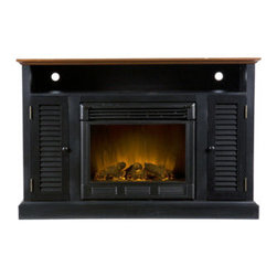 Grandin Road - Antibellum Medium Cabinet with Electric Fireplace - Classic media cabinet with an integrated combustion-free electric fireplace, two side cabinets, and one open shelf. Frame crafted from engineered wood, finished in warm, black walnut with distressed features. Side cabinets with folding shutter-style doors; each is equipped with one adjustable shelf inside. Firebox equipped with a glass front that remains cool to the touch. Electric fire creates adjustable, realistic flickering flames and burning embers using long-life LED lights. The built-in electric fireplace will instantly warm any room, while the classic cottage styling and all the right storage spaces make the Antebellum media cabinet an instant crowd pleaser. Louvered, hinged cabinet doors open up on both sides of the glass-covered firebox to reveal cabinets with adjustable shelves, perfect for storing media room necessities. A large open shelf above offers space for receivers and game consoles, complete with two openings for cord management. Just plug in the fireplace and adjust the flames and glowing embers by remote control. You'll be amazed at how much more welcoming your home will be with this instant, eco-efficient fireplace.. . . . . Operates by remote control; one CR2025 battery required (included). Easy-to-use controls include and adjustable thermostat and timer feature. Plugs into a standard outlet; 6' cord. Eco-friendly and 100% energy efficient; uses about as much energy as a coffee maker and produces zero emissions or pollutants. Some assembly required (screwdriver required, not included). Maintain finish with furniture cleaner. Imported.