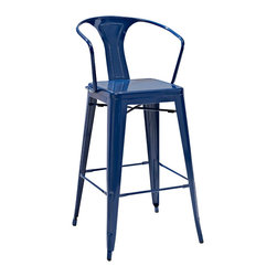 Crosley Furniture - Crosley Furniture Amelia Metal Cafe Barstool w/ Back in Blue - Set of 2 - Originally made famous in the quaint bistros of France, these midcentury replicas of original Cafe seating will offer a dose of nostalgia combined with careful consideration for your wallet.  This inspired revival evokes a sense of a true vintage find. (Sold in Pairs)