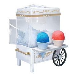 "Nostalgia Electrics SCM-502 Vintage Collection Snow Cone Maker - Satisfy your craving for cool classic snow cones with the Nostalgia Electrics SCM-502 Vintage Collection Snow Cone Maker. With a style reminiscent of carnival carts of yesteryear this cute and compact unit uses ice cubes from your freezer to make fluffy shaved ice. Add your choice of flavored syrup and enjoy. Fun for the whole family this 35-watt snow cone maker is perfect for a kitchen dorm room home office by the pool or on your patio. The safety on/off switch makes this unit simple to use and child-safe. Constructed of durable metal and plastic it has a convenient side tray that holds two cones. It includes two reusable plastic cones. 90-day limited warranty. About Nostalgia ElectricsAt Nostalgia Electrics the aim is to add excitement to your small appliances. Whether you find one of their products in a retail store home shopping network or online it's guaranteed to meet and exceed your expectations. They strive for innovation in small appliances and while many of their products are designed to optimize your hosting experience safety doesn't take a back seat. All Nostalgia Electrics carry the GS and SSA electrical approvals. With Nostalgia Electrics """"Everyday's a party!"""""