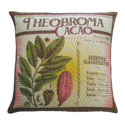 """KOKO - Botanica Pillow, Theobroma Cacao Print, 20"""" x 20"""" - Botanical prints are making a big comeback in home design. It's easy to love the vintage feel of this pillow and you even get a little stylish lesson on the cacao plant."""