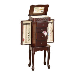 Adarn Inc - Traditional Carvings Cabriole Leg Warm Cherry Wood Jewelry Armoire Chest Box - Bring a traditionally styled storage piece to tuck away all your jewelry and valuables with this jewelry armoire. It is crafted with a warm cherry finish and features detailed carvings that show off the beautiful woodwork. Two small drawers and two larger drawers offer space for your rings, earrings, and bracelets, while two felt-lined side doors open to reveal hooks to stow necklaces. A mirrored lift-top also includes felt-lining and divided compartments for small valuables. Lifted on cabriole legs, decorative drawer knobs add a final touch to refine.