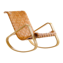 Crassevig - DONDOLO Rocking Chair, Natural Leather with Natural Stain - Iconic rocking chair designed by Luigi Crassevig in 1970. The seat and back are interlaced straps of saddle leather in black or natural. The wood frame is solid steam bent European Beech wood. Made in Italy.