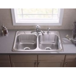 """Sterling - Sterling 14707-3-NA Stainless Steel Middleton Double Basin Stainless - Overall size: 33"""" x 22""""  7"""" Basin depth  3 5/8"""" Drain opening  3-hole faucet punching  SilentShield(TM), an exclusive sound-deadening system, reduces noise and vibration  Rolled outer rim for safe handling and increased rim durability"""