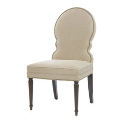 Kathy Kuo Home - Sadie Venetian Rounded Back Natural Linen Dining Side Chair - Couldn't you just eat this chair up with a spoon? From the curvy, spoon-shaped back and flax-colored Belgian linen to the fluted legs and nailhead trim, this chair is built for comfort and cuteness. What's even dishier? It's available as both a side or armchair.