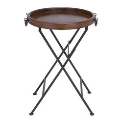 """Benzara - Metal and Wooden Table in Slick Metallic Black Polish - Metal and wooden table in slick metallic black polish. A perfect combination of simplicity and elegance. It comes with following dimensions 20"""" W x 20"""" D x 28"""" H."""